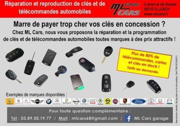 Réparation et reproduction de clés et de télécommandes automobiles